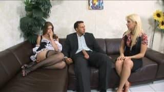 Seks w trójkącie z gorącą gosposią