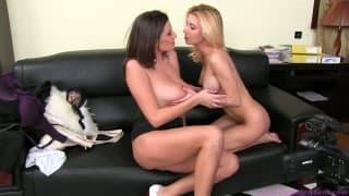 Blondynka dała show podczas porno castingu