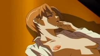 Pinda hentai opiera się o szybę