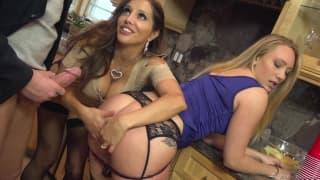 Orgia w kuchni z udziałem aktorek porno